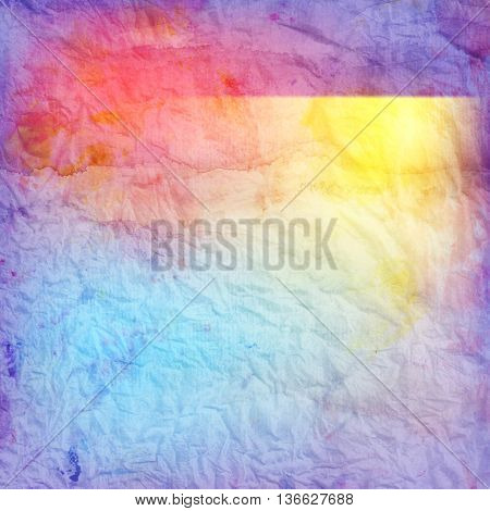 Beautiful retro colorful watercolor background with crumpled paper