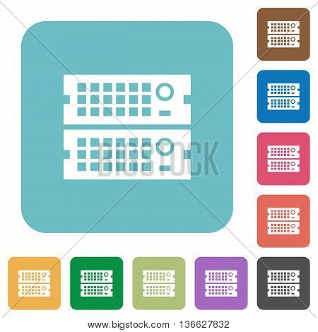Flat rack servers icons on rounded square color backgrounds.