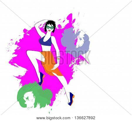 vector illutrazione of girl with abstract colors in the background