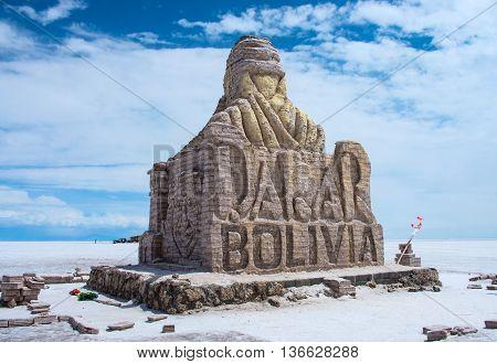 The Dakar Bolivia Monument In Salar De Uyuni, Bolivia