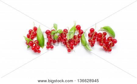 Fresh summer berries. Ripe redcurrant. Berries on white background. Top view.