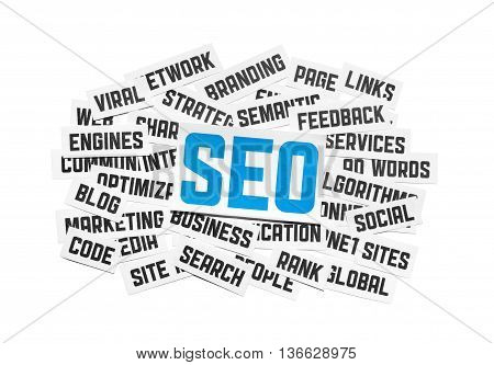 SEO sign and tags on social engine optimization theme