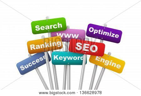 3d illustration of group of placard presenting concept of seo search engine optimization