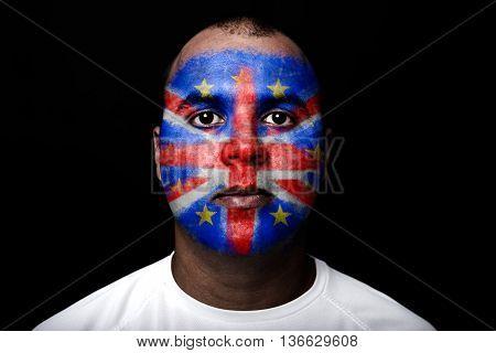 Man Brexit Face Flag