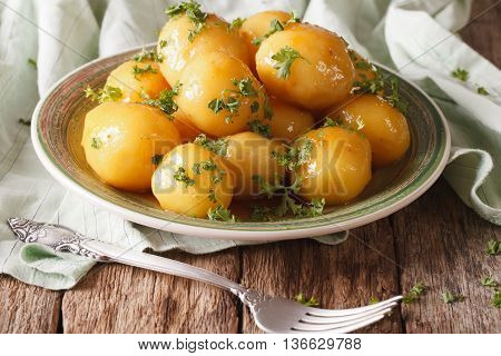 Caramelized New Potatoes With Parsley Close-up. Horizontal