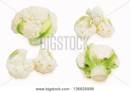Fresh cauliflower cabbage isolated on white background. Set of different foreshortening. Collage of cauliflower cabbage. Cauliflower florets.