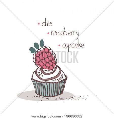 chia raspberry muffin