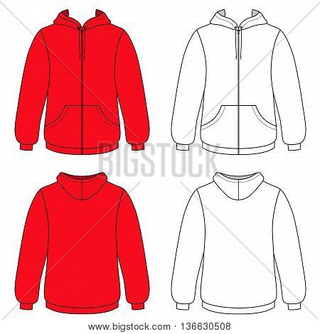 Hoodie sweater (front & back outlined view) vector illustration. EPS8 file available. You can change the color or you can add your logo easily.