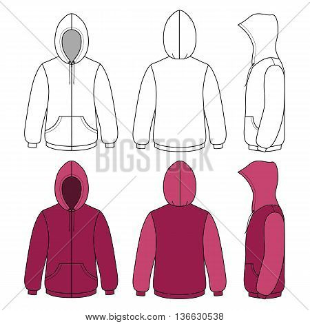 Hoodie sweater template (front side & back outlined view) vector illustration. EPS8 file available. You can change the color or you can add your logo easily.