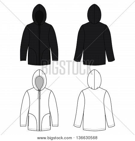 Hoodie black leather sweater (front & back outlined view) vector illustration. EPS8 file available. You can change the color or you can add your logo easily.