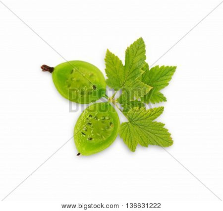 Gooseberry fruit. Ripe and tasty berry isolated on white background. Green gooseberry. Top view.