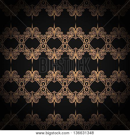 Quilted seamless pattern. Black color. Golden metallic stitching on textile