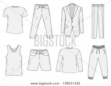 Clothing set sketch. Men's clothes hand-drawing style. Business suit jogging suit T-shirt and shorts summer clothes. Men's clothes vector illustration.