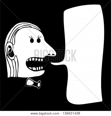Hand drawn screaming man with bow-tie on black background. With place for text. . Vector illustration. Showman.