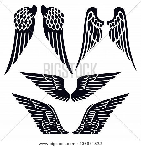Angel wings set silhouette isolated on background vector illustration