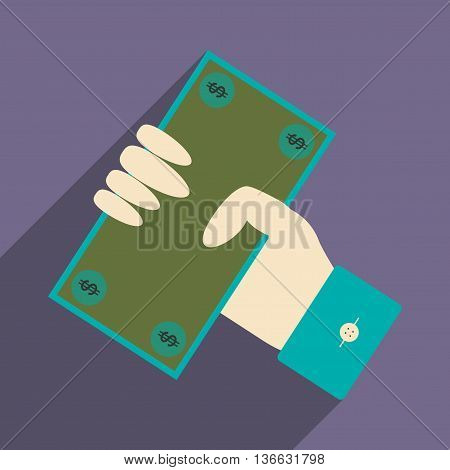 Flat with shadow icon dollar in hand