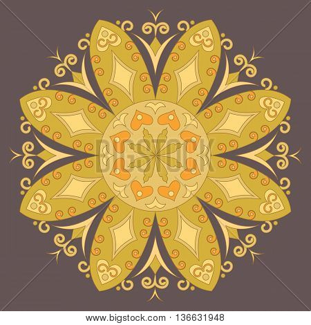Vector decorative element mandala in gold colors.