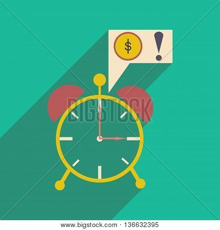Modern flat icon with shadow alarm clock