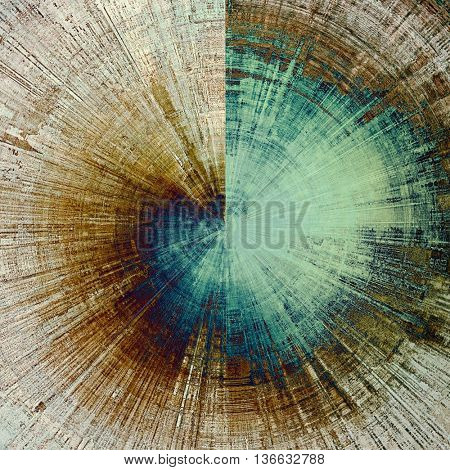 Spherical vintage ancient background or texture with grunge decor elements and different color patterns: yellow (beige); brown; gray; blue; cyan