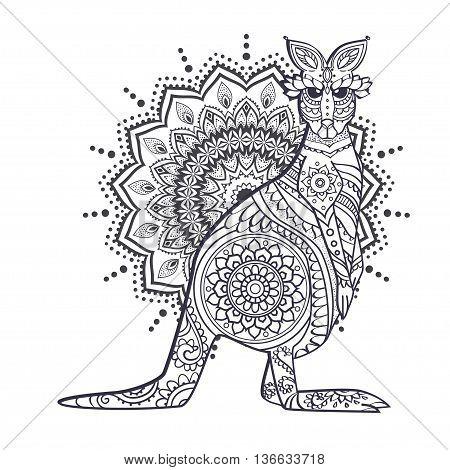 Ornament kangaroo vector. Beautiful illustration kangaroo for design, print clothing, stickers, tattoos, Adult Coloring book. Hand drawn animal illustration. Bohemian kangaroo lace