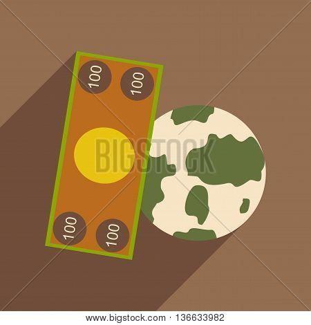 Flat design modern vector illustration icon Globe and money