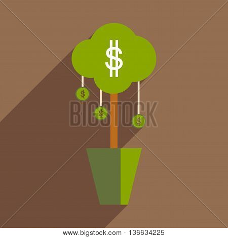 Flat design modern vector illustration icon Money Tree