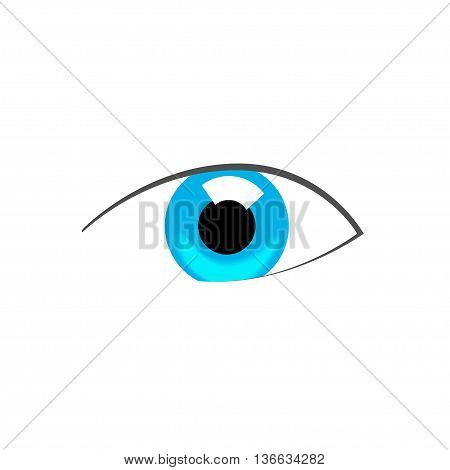 Blue eye abstract vector symbol illustration, flat drawing style creative logo, concept of beauty icon, good vision, eyesight modern design isolated on white background