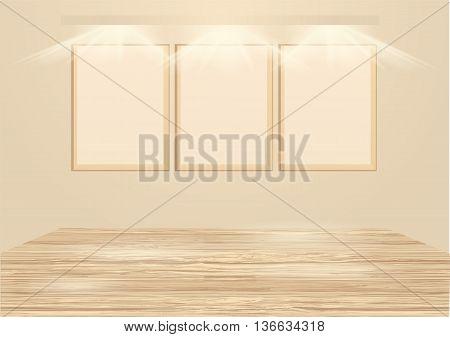gallery . wooden empty frames illuminated by spotlights
