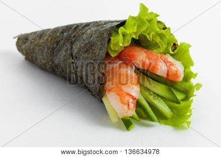 Temaki Sushi With Shrimp, Cucumber And Lettuce On A White Background
