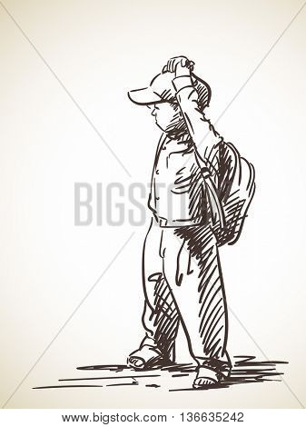 Sketch of schoolboy with backpack, Hand drawn illustration
