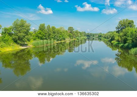 Summer landscape with small river Oril in Ukraine