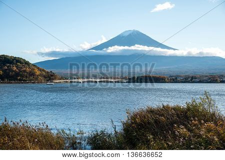 Beautiful view of Mount Fuji and field at Lake Kawaguchi in autumn. This mountain is an famous natural landmark of Japan