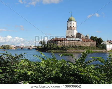 ancient castle on a small island summer