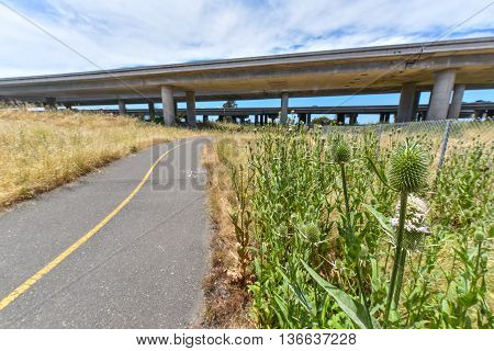 Walkway Next To A Freeway With Fence