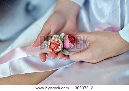 Hands Of Beautiful Bride In White Dressing Gown. Beauty Model Girl In Wedding Robe. Female Portrait