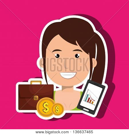 woman with portfolio and coins isolated icon design, vector illustration  graphic