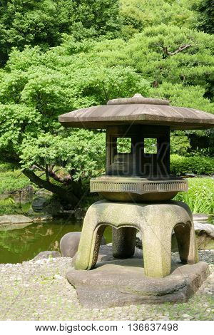 Japanese Outdoor Stone Lantern In Zen Garden