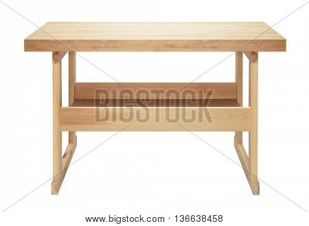 Wooden workbench with shelf. Workshop or garage table isolated on white background.