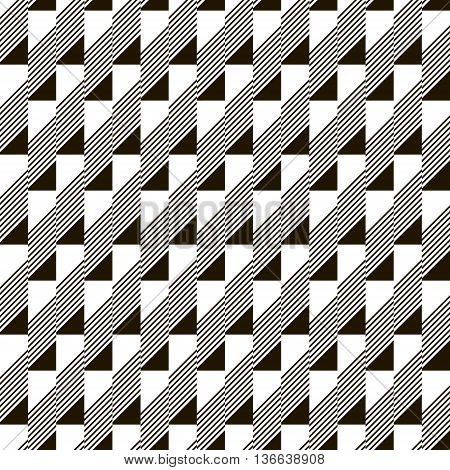 Abstract seamless black and white pattern. Narrow rectangular tiles with triangles and diagonal lines inside. Monochrome geometric ornament. Vector illustration for various creative projects