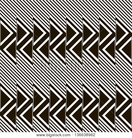 Abstract seamless pattern of diagonal lines and triangles. Black and white geometric print in modern style. Vector illustration for creative design