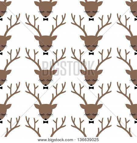 Deer head silhouette seamless pattern. Animal head texture. Cute sleeping deer with bow background for winter holidays.