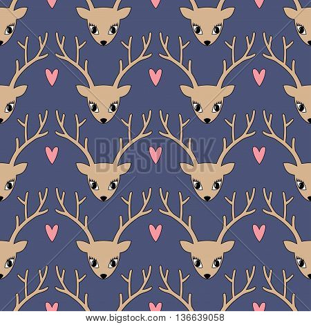 Cute deer with heart background for winter holidays. Merry Xmas illustration. Deer head silhouette seamless pattern. Animal head texture.