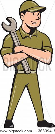 Illustration of a mechanic worker wearing hat standing with arms crossed holding spanner looking to the side viewed from front set on isolated white background done in cartoon style.