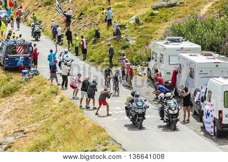 Col de la Croix de Fer France - 25 July 2015:The cyclists Quintana and Valverde of Movistar Team followed by the biggest favourites Froome and Nibali climbing to the Col de la Croix de Fer in Alps during the stage 20 of Le Tour de France 2015.