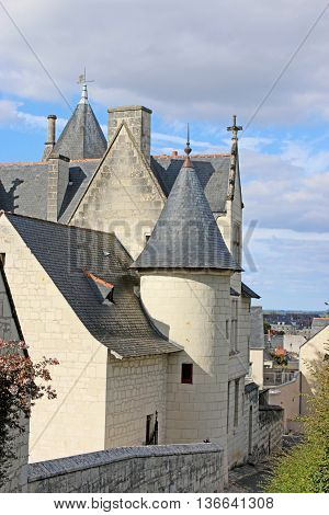 Buildings in the town of Saumur in France