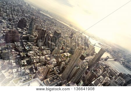 Very high view of Manhattan, New York