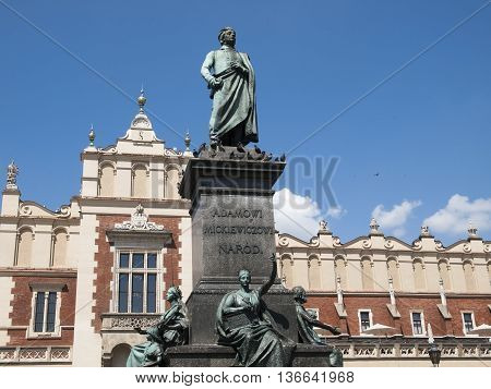 The monument of Adam Mickiewicz in Krakow in Poland