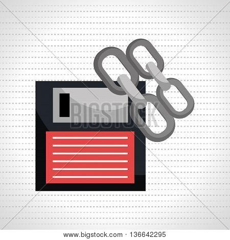 floppy disk with chain  isolated icon design, vector illustration  graphic