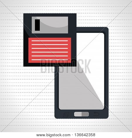 floppy disk with smartphone  isolated icon design, vector illustration  graphic