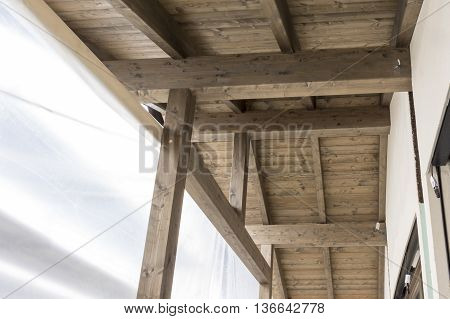 building construction: assembly of prefabricated wooden house